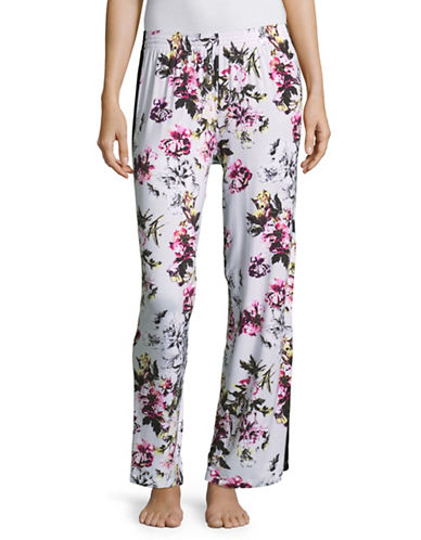 Lord & Taylor Grosgrain-Stripe Pyjama Pants-FLORAL-X-Large