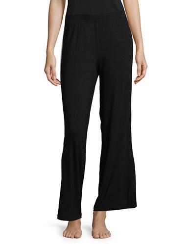 Lord & Taylor Grosgrain-Stripe Pyjama Pants-BLACK-Small