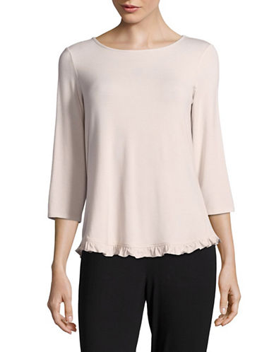 Lord & Taylor Long Sleeve Ruffle Top-PURPLE-Medium