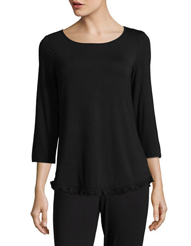 Lord & Taylor Long Sleeve Ruffle Top-BLACK-X-Large