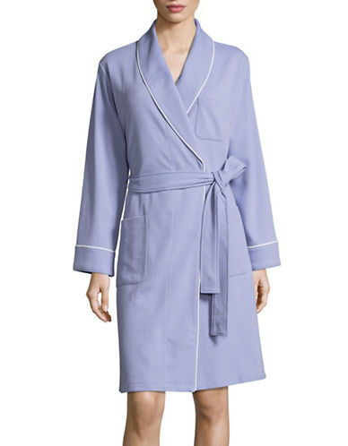 Lord & Taylor Waffle-Knit Robe-LILAC-Medium