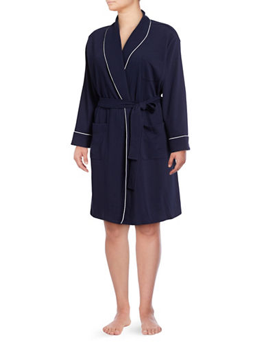 Lord & Taylor Plus Cotton-Blend Robe-NAVY-2X