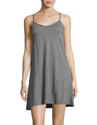 Lord & Taylor Pima Cotton Short Chemise-GREY-Large