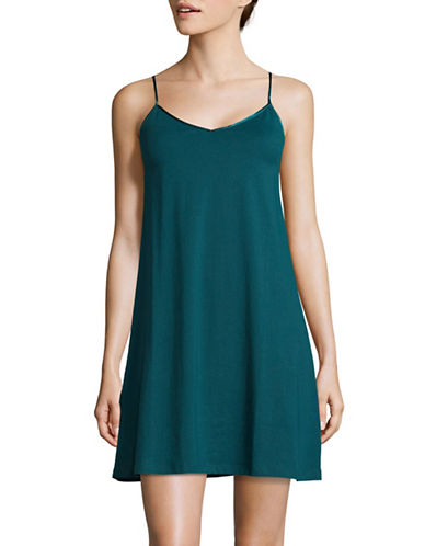 Lord & Taylor Organic Cotton Short Chemise-BLUE-X-Large