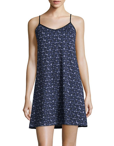 Lord & Taylor Organic Cotton Short Chemise-NAVY-Large