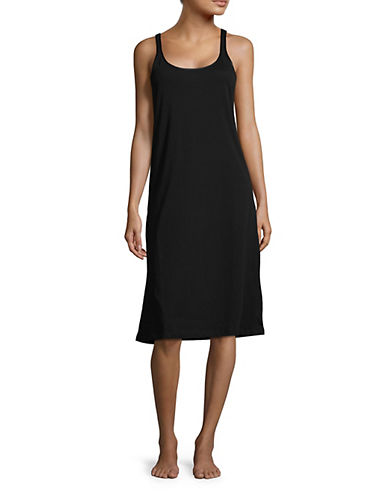 Lord & Taylor Scoop Neck Cotton Chemise-BLACK-Small