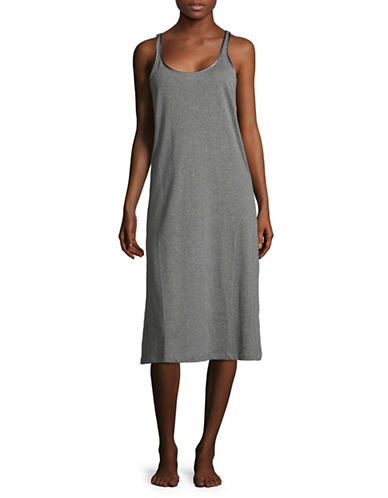 Lord & Taylor Scoop Neck Cotton Chemise-HEATHER GREY-Medium
