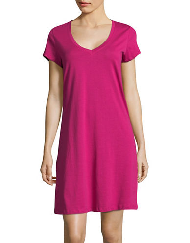 Lord & Taylor Printed Cotton Sleepshirt-PINK-Small