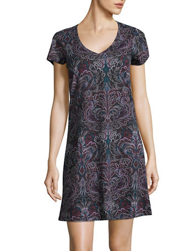 Lord & Taylor Printed Cotton Sleepshirt-BLACK-Medium