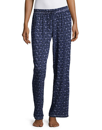 Lord & Taylor Printed Organic Cotton Pyjama Pants-BLUE-X-Large