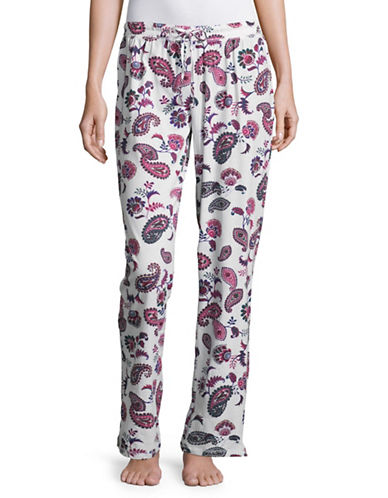 Lord & Taylor Printed Organic Cotton Pyjama Pants-WHITE-Large