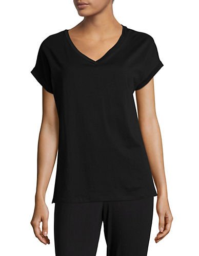Lord & Taylor Pima V-Neck Boxy Tee-BLACK-Medium