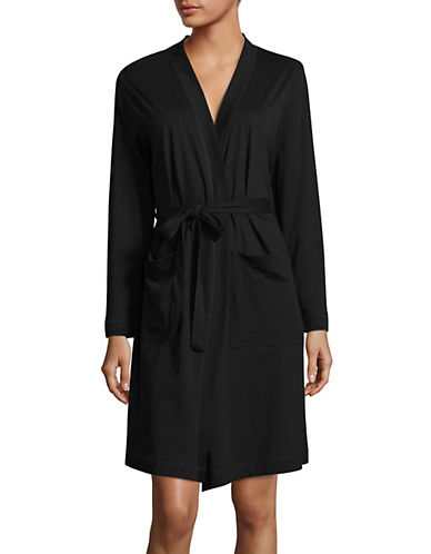 Lord & Taylor Belted Pima Cotton Robe-BLACK-Small
