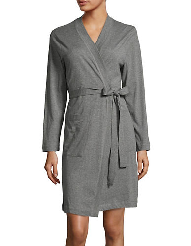 Lord & Taylor Belted Pima Cotton Robe-GREY-Large