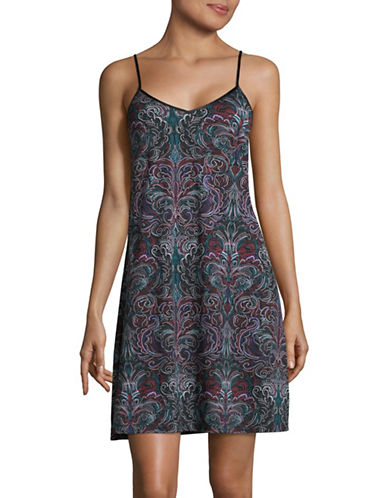 Lord & Taylor V-Neck Pima Cotton Short Chemise-PLUM-3X