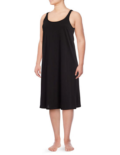 Lord & Taylor Plus Pima Long Chemise-BLACK-3X