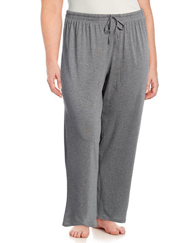 Lord & Taylor Plus Classic Cotton Drawstring Pants-HEATHER GREY-1X