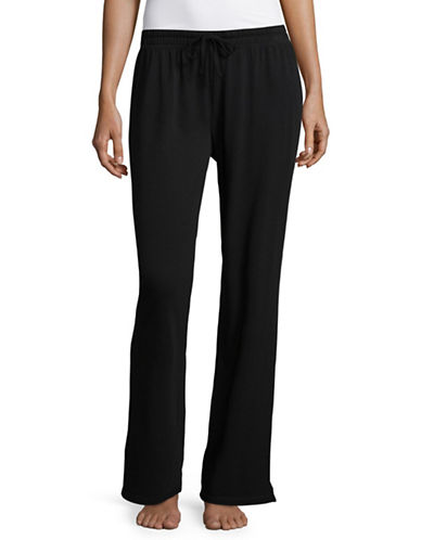 Lord & Taylor Plus Classic Cotton Drawstring Pants-BLACK-1X