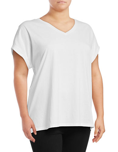 Lord & Taylor Cotton V-Neck Tee-WHITE-1X