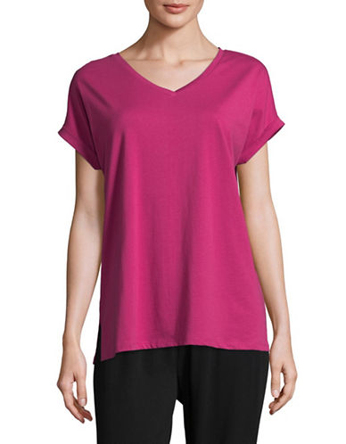 Lord & Taylor Cotton V-Neck Tee-PINK-3X