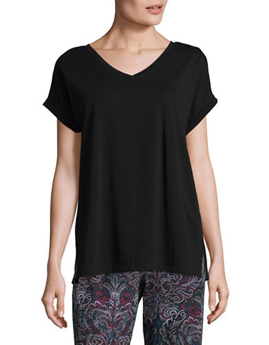 Lord & Taylor Plus Cotton V-Neck Tee-BLACK-1X