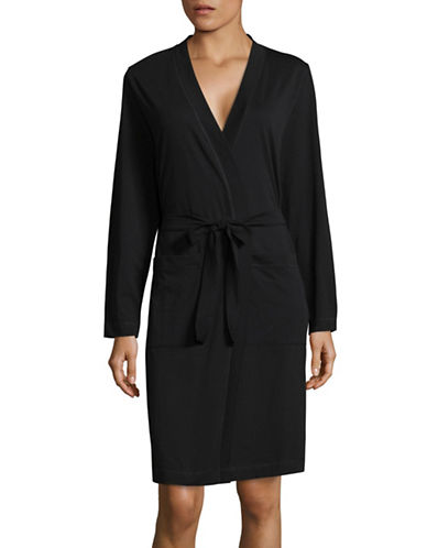 Lord & Taylor Plus Cotton Robe-BLACK-3X