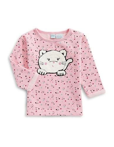 Bob Der Bar Star Print with Kitten Fleece Sweatshirt-ROSE-24 Months