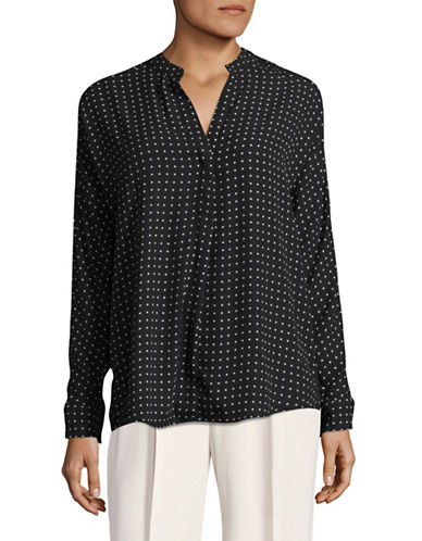 Lord & Taylor Printed Blouse-BLACK-Small