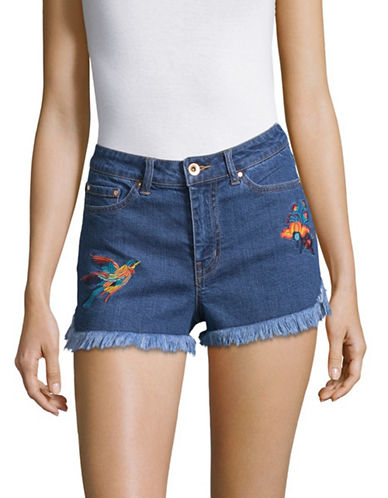 Highline Collective Denim Fringe Embroidered Shorts-BLUE FADE-25