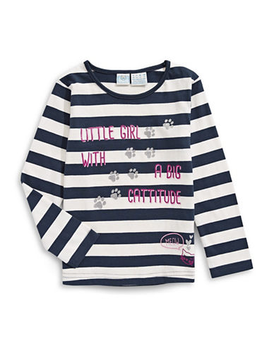 Bob Der Bar Long Sleeve Stripe Paws Graphic Tee-BLUE-2T