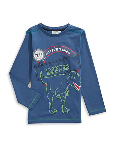 Bob Der Bar Dino Print T-Shirt-BLUE-2