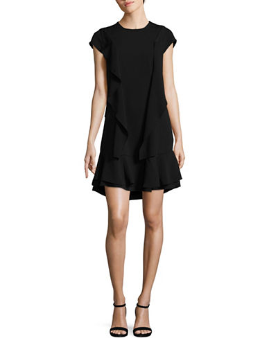 Lord & Taylor Irene Ruffle Dress-BLACK-X-Large