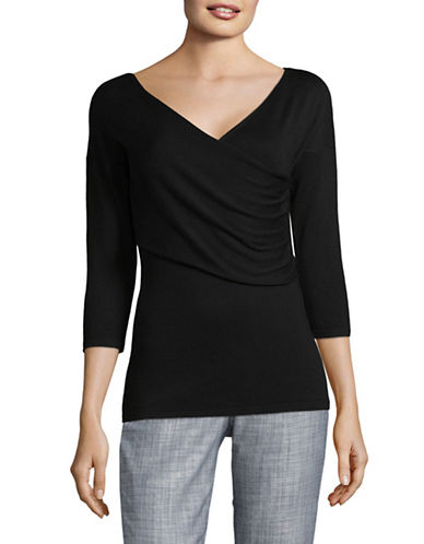 Lord & Taylor Plus Ruched Surplice Sweater-BLACK-3X