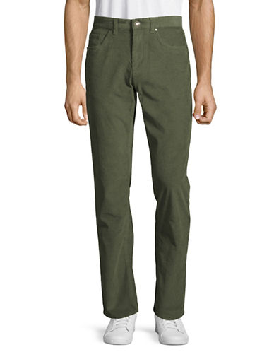 Black Brown 1826 Corduroy Pants-OLIVE GREEN-34X34
