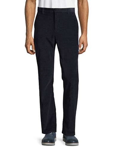 Black Brown 1826 Flat Front Corduroy Pants-NAVY-34X30