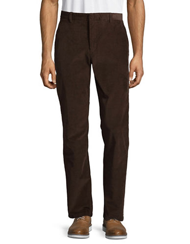 Black Brown 1826 Flat Front Corduroy Pants-BROWN-36X32