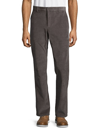 Black Brown 1826 Flat Front Corduroy Pants-CHARCOAL-34X32