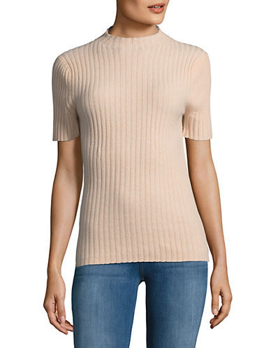 Lord & Taylor High Neck Cashmere Sweater-PEACH HEATHER-Large