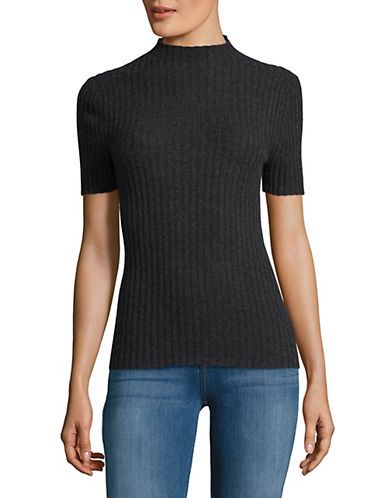Lord & Taylor High Neck Cashmere Sweater-CHARCOAL-Small