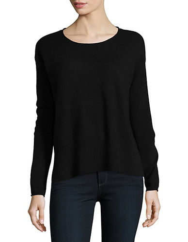 Lord & Taylor Boxy Wide Rib Cashmere Top-EBONY-Small