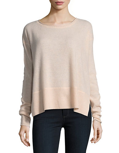 Lord & Taylor Boxy Wide Rib Cashmere Top-PEACH HEATHER-Small