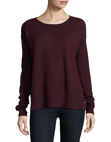 Lord & Taylor Boxy Wide Rib Cashmere Top-BEGONIA-Medium