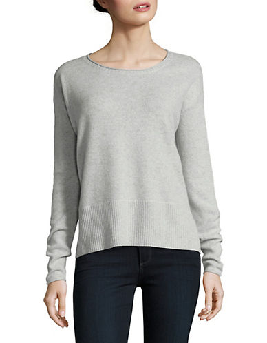 Lord & Taylor Boxy Wide Rib Cashmere Top-LIGHT GREY-Small