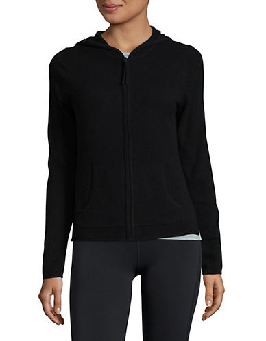 Lord & Taylor Cashmere Zip Hoodie-EBONY-X-Large