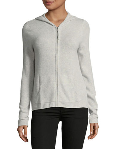 Lord & Taylor Cashmere Zip Hoodie-LIGHT GREY-Small