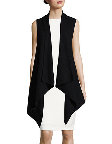 Lord & Taylor Cashmere Waterfall Vest-EBONY-Large