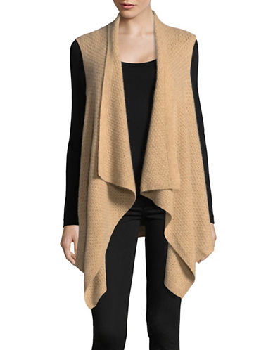Lord & Taylor Cashmere Waterfall Vest-CAMEL-Large