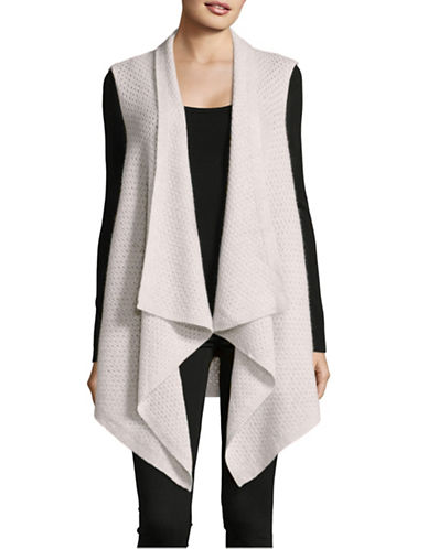 Lord & Taylor Cashmere Waterfall Vest-LIGHT GREY-X-Small