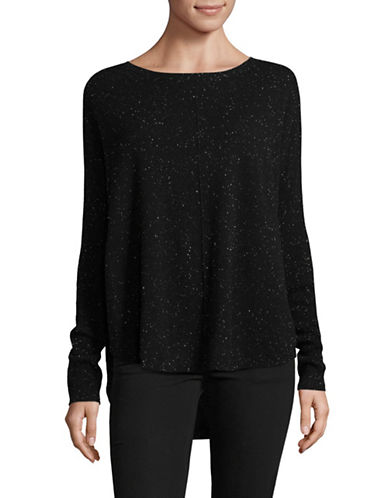 Lord & Taylor Woven Cashmere Sweater-BLACK TWEED-Medium