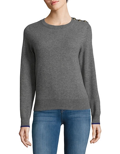 Lord & Taylor Knitted Cashmere Sweater-PEWTER-Medium